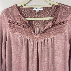 Lace yoke distressed knit antique style Knox Rose